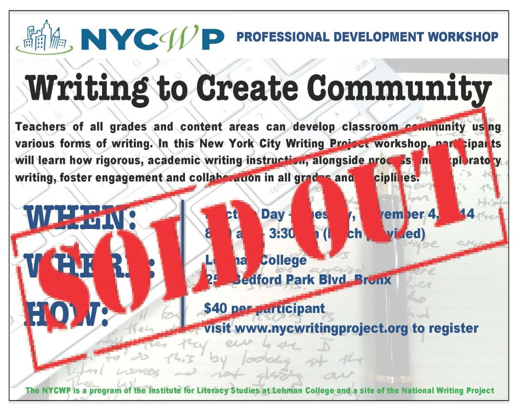 SOLD OUT Writing to Create Community