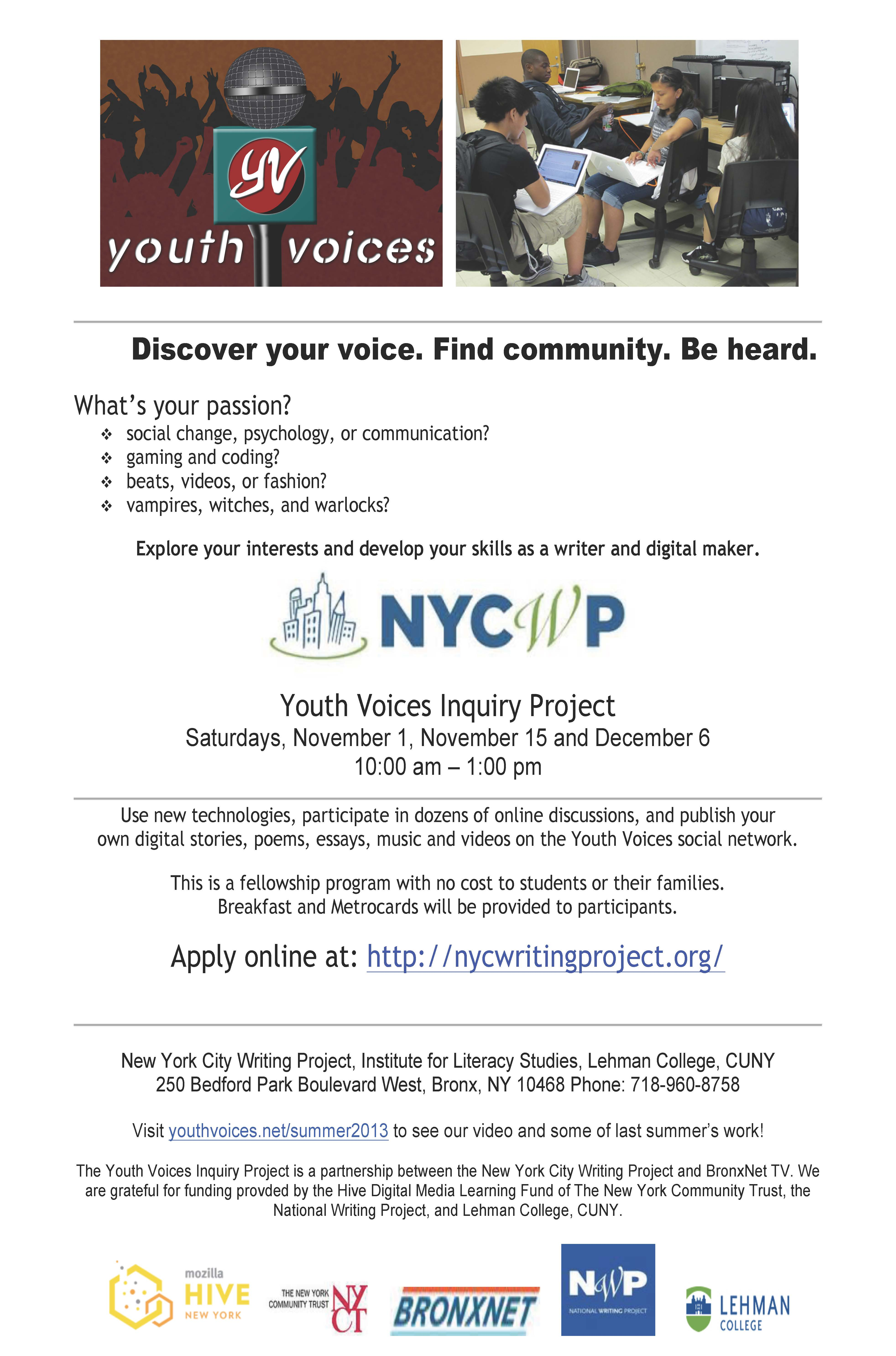 Fall 2014 Youth Voices Students
