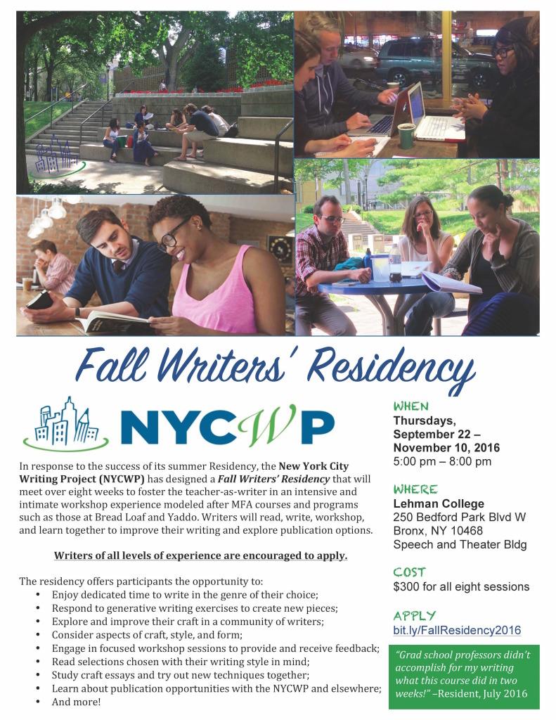 NYCWPFallWritersResidency2016