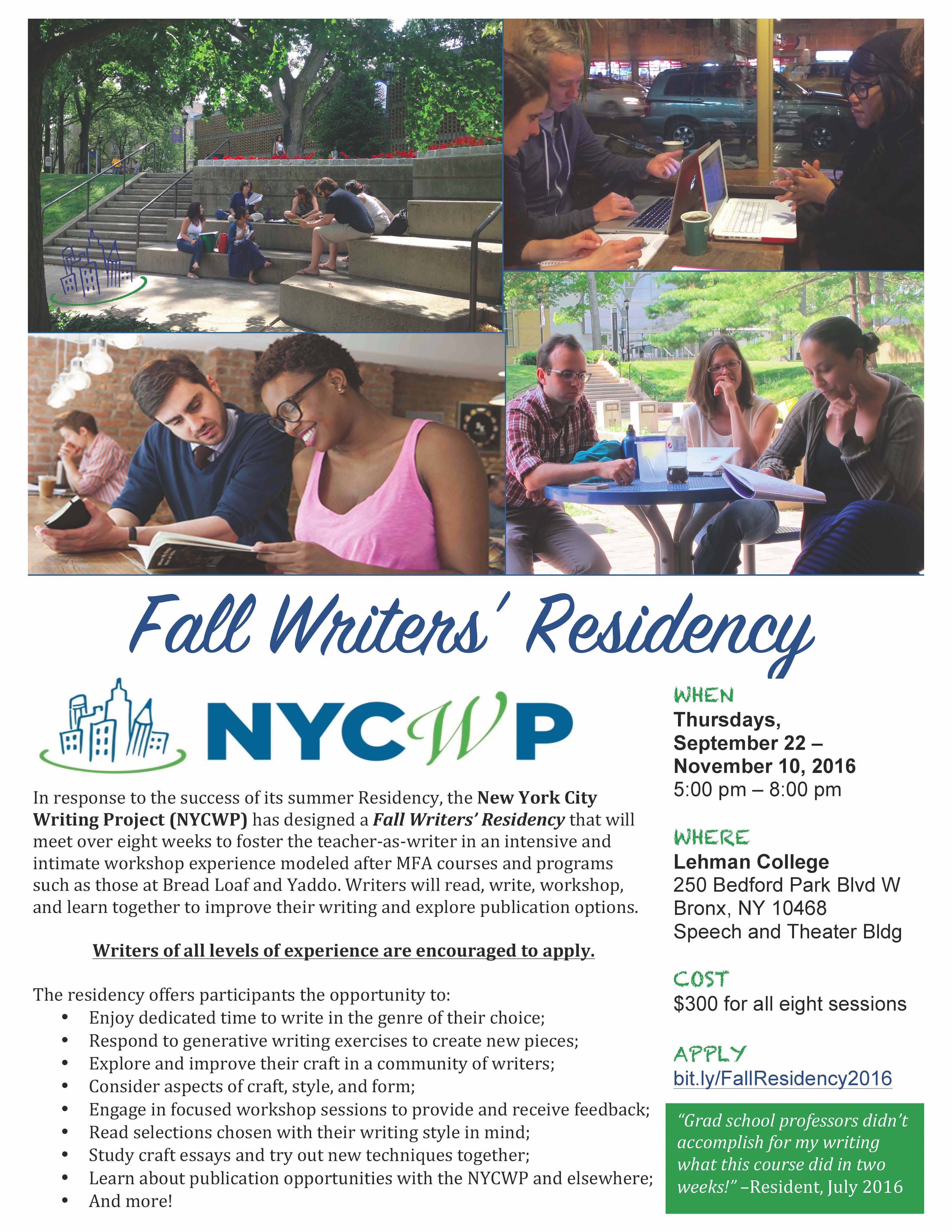 nyc writing project My career as a teacher and leader in literacy education and technology began at university heights high school with nancy mohr and ted sizer and with the new york city writing project in the 80's and 90's after teaching at university heights for a dozen years, principal eric nadelstern invited me to teach english.