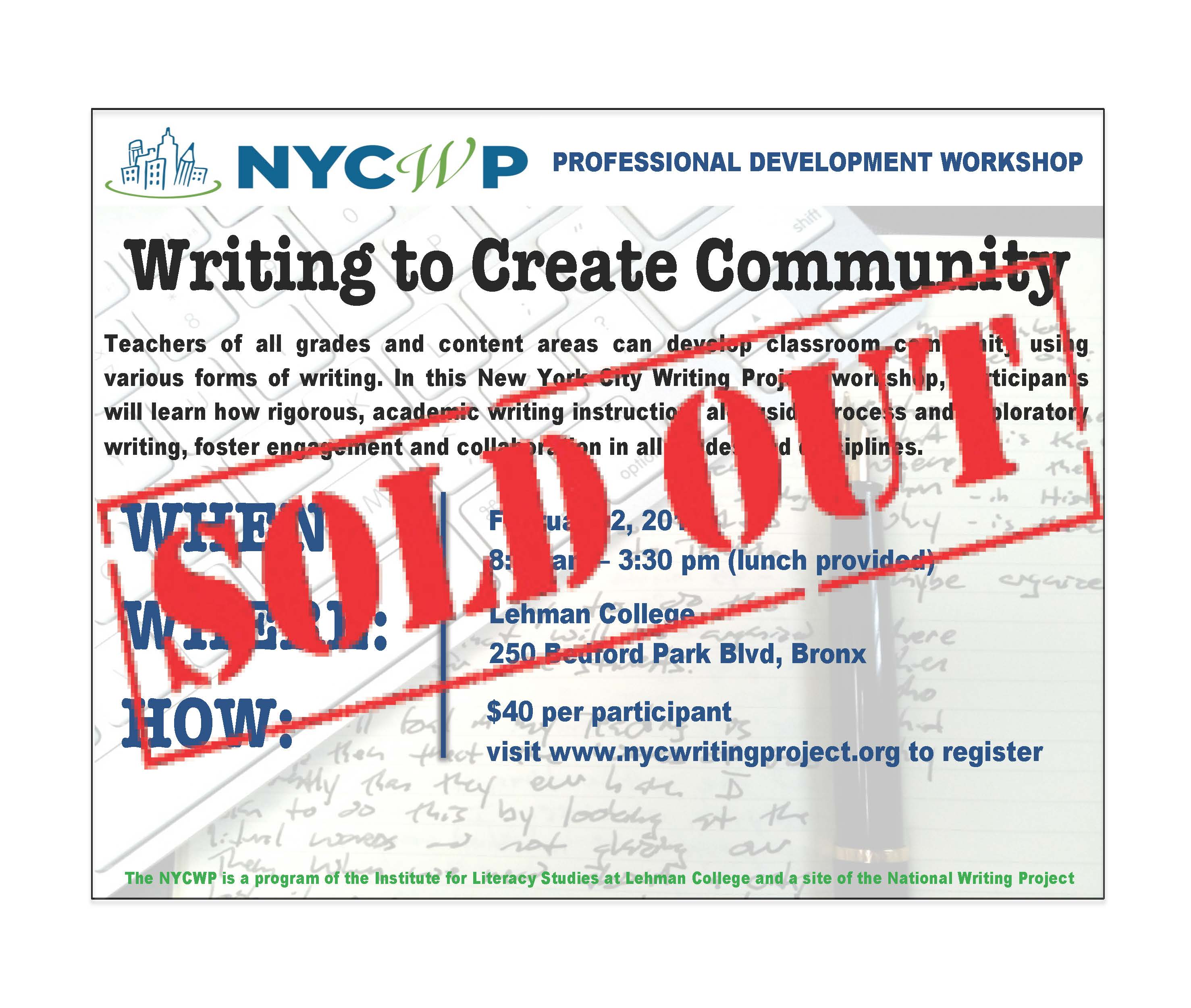 SOLDOUT2-2 Writing to Create Community