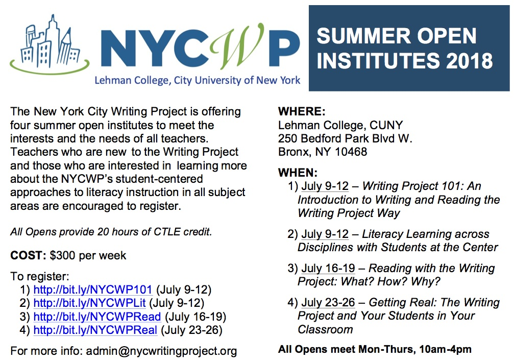 New York City Writing Project Summer Open Institutes For Teachers