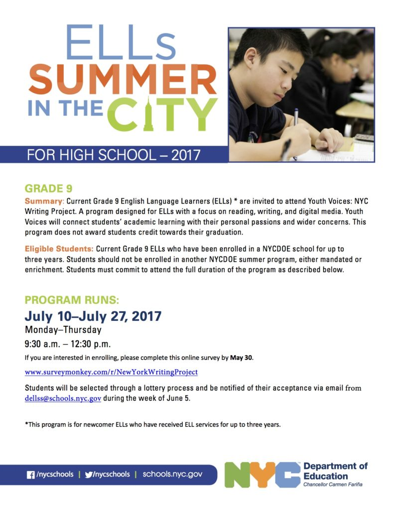 New York City Writing Project Ells Summer In The City