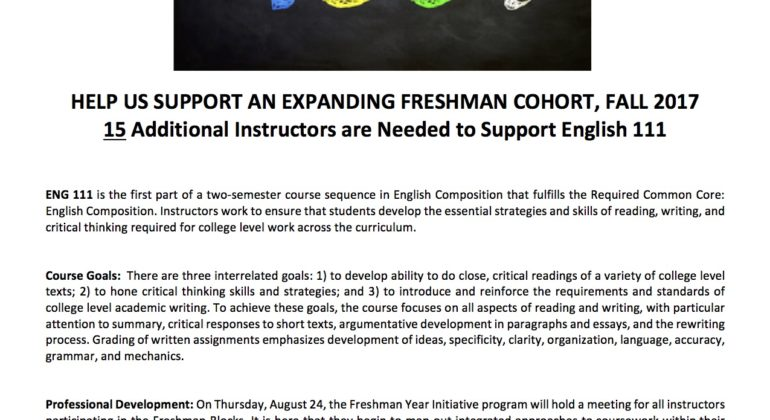 English 111 Instructors Needed at Lehman College