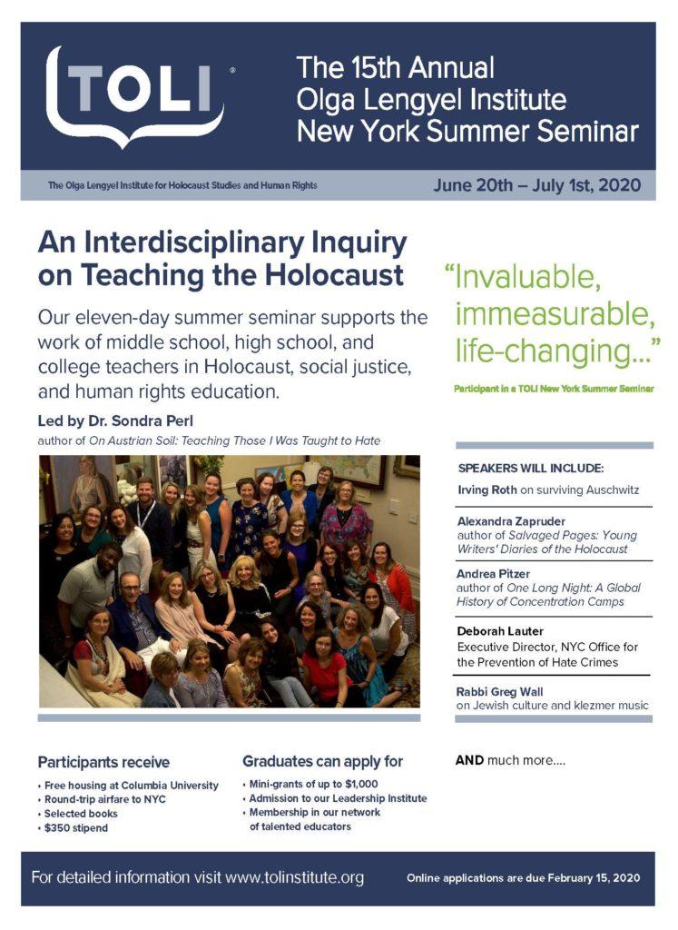 The 15th Annual Olga Lengyel Institute New York Summer Seminar: An Interdisciplinary Inquiry on Teaching the Holocaust